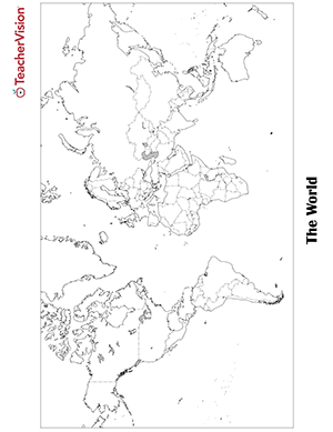 graphic about World Map Printable Black and White identified as Blank Map of the Environment Printable PDF - TeacherVision