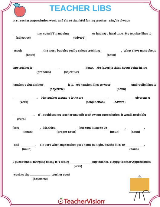 Teacher Appreciation Mad Libs