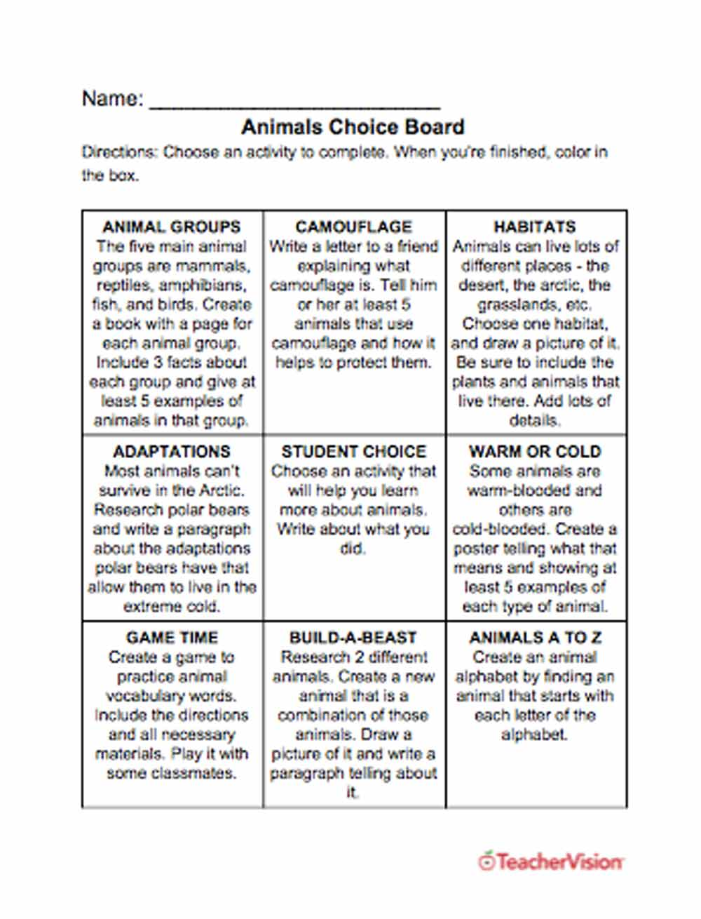 Animals Choice Board