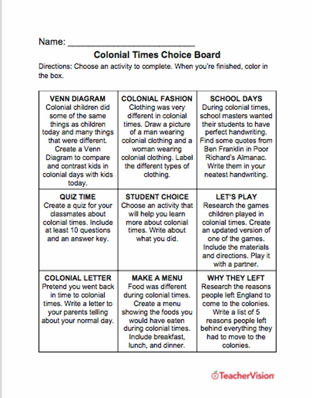 Colonial Times Choice Board