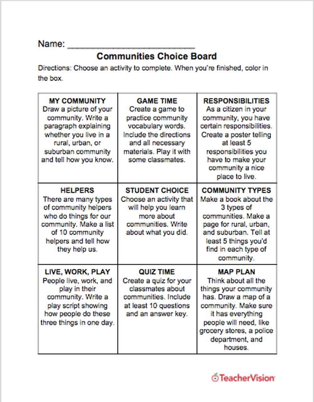 Communities Choice Board