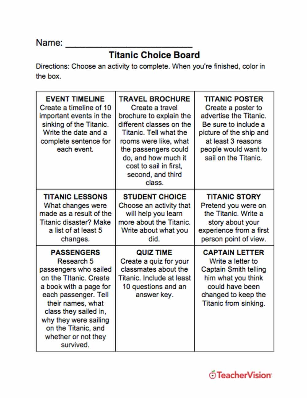 Titanic Choice Board