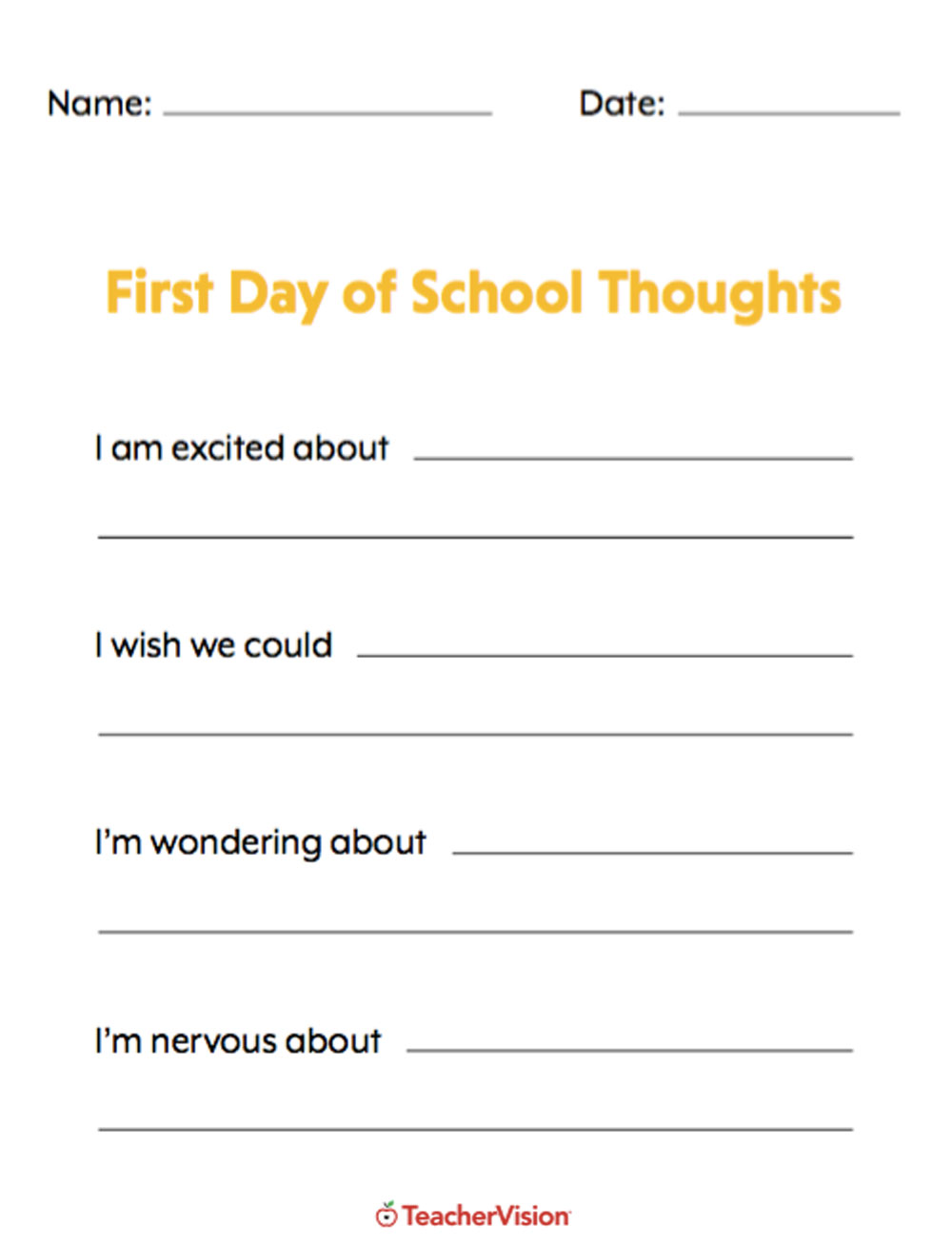 An activity to support students to share how they are feeling the first day of school