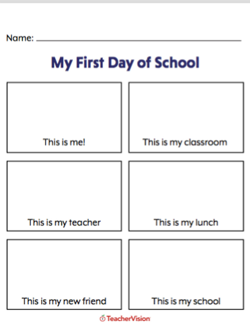An activity to support students to reflect on their first day of school.