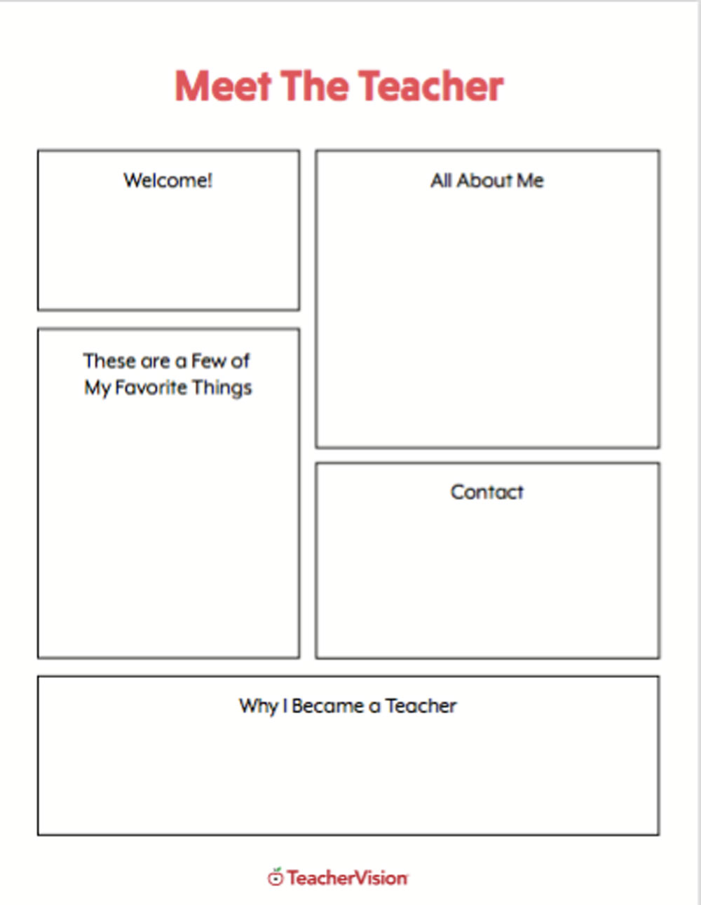 A printable for teachers to introduce themselves to students at the beginning of the school year