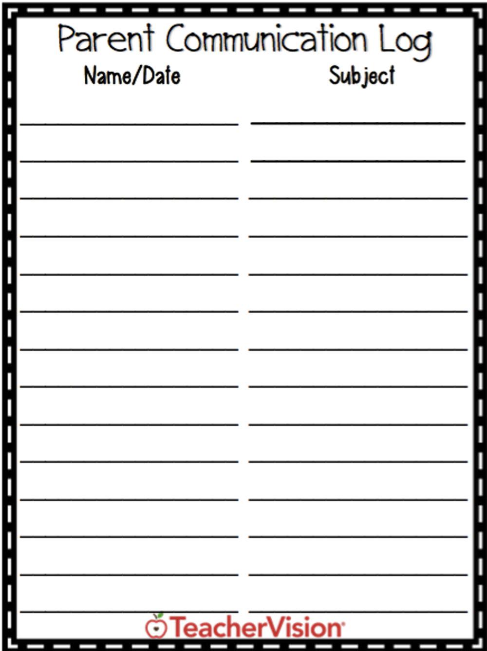 A parent communication log