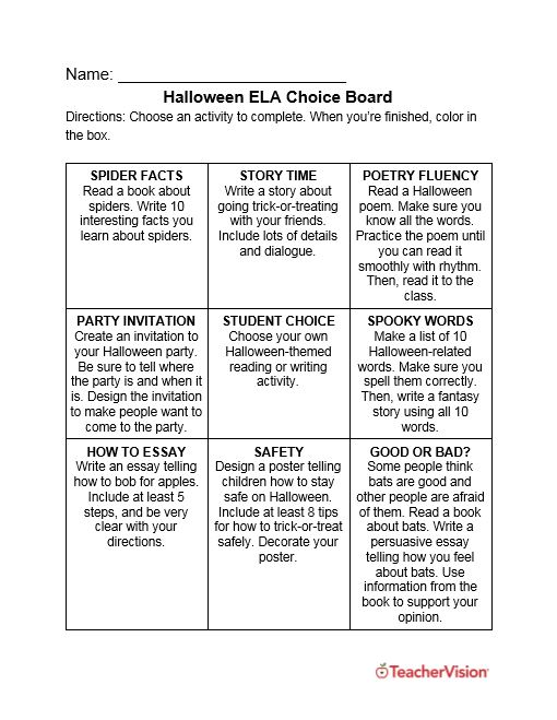 Halloween activity choice board for elementary and middle grade ELA