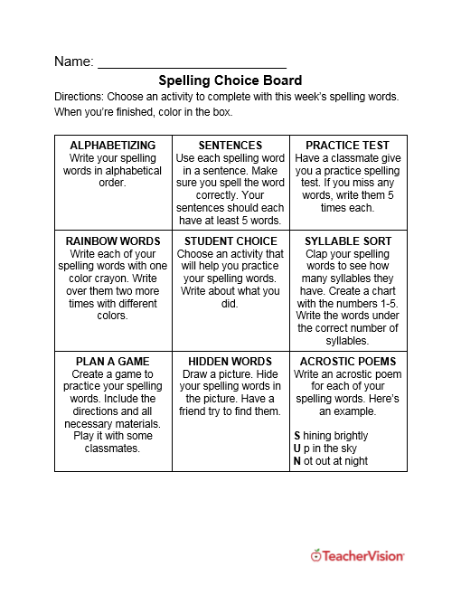 Spelling Choice Board for Grades 1-5