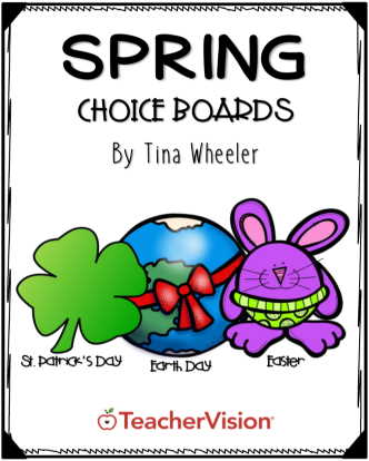 Easter, Earth Day, St. Patrick's Day activities choice board for 3-5