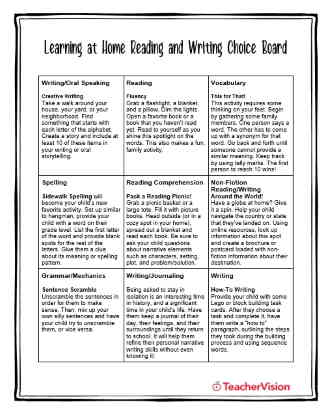 Learning at Home Reading and Writing Choice Board