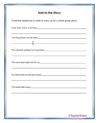 Add To the Story Creative Reading Activity
