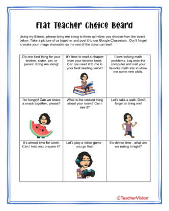 Flat Teacher Choice Board