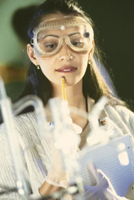 Girl in chemistry lab