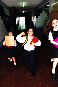 Students running in hallway