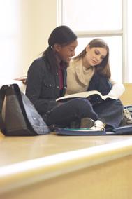 Teenage girls studying on bench
