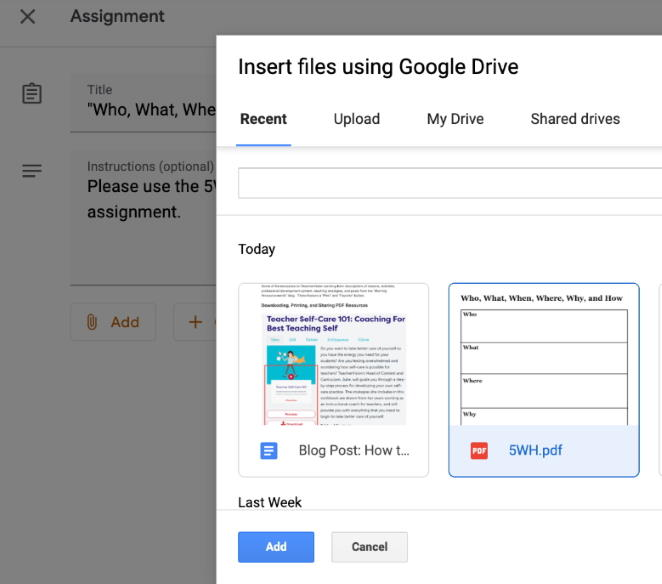 Adding a resource to Google Classroom 4