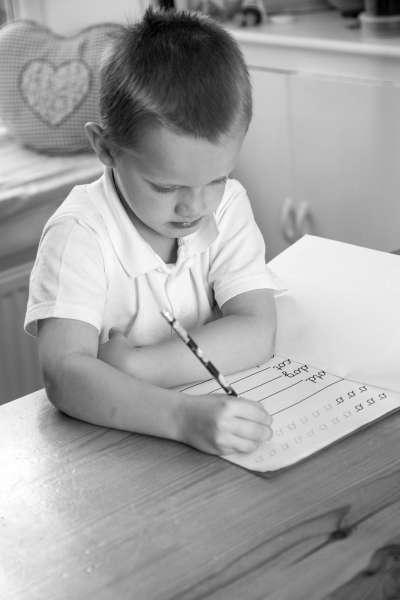 Child doing homework at home