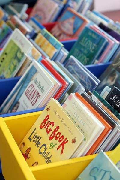 bins of children's books