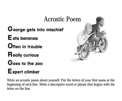 Curious George Acrostic Poem