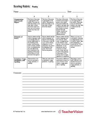 Scoring Rubric Poetry for Language Arts and Writing Classes