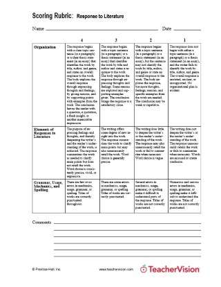 Scoring Rubric Response to Literature for Language Arts Classes