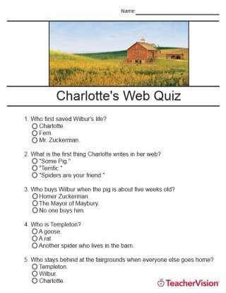 Charlotte's Web Quiz Printable (2nd