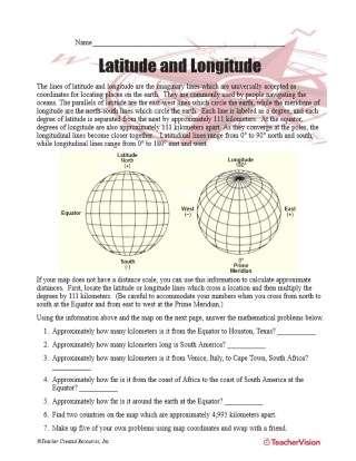 Latitude and Longitude - Geography Printable (5th-8th Grade ...