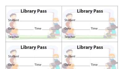 Library Pass (8 Per Sheet) Cover Image