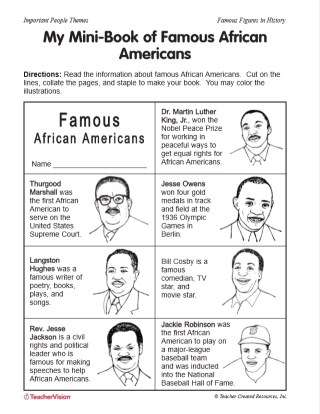 Mini-Book Activity: Famous African-Americans