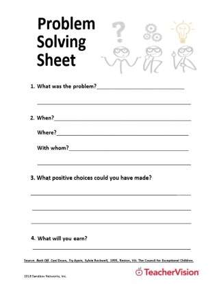 Problem Solving Sheet for Student Behavior Issues