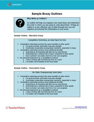 Sample of an essay outline