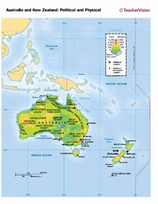 Australia To New Zealand Map.Political And Physical Map Of Australia And New Zealand