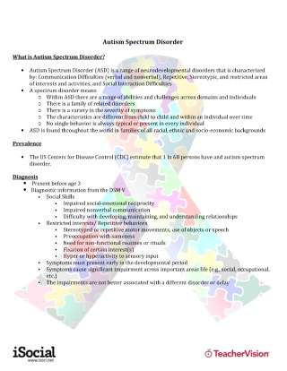 Autism Spectrum Disorder (ASD) Overview for General Educators