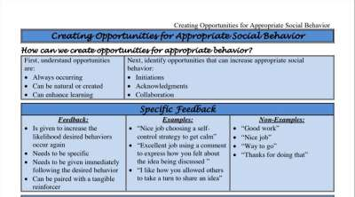 Guide to Creating Opportunities for Appropriate Social Behavior in Students with ASD