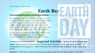 Earth Day Activities Worksheet