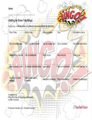 Getting to Know You Bingo Back to School Icebreaker