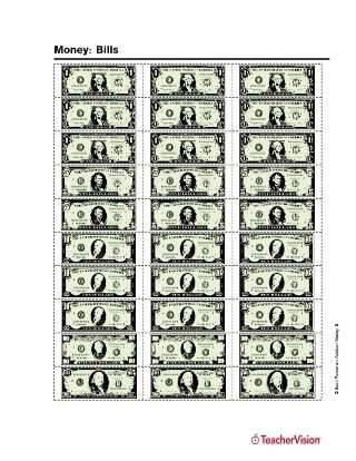 Printable sheet of U.S. currency bills ($1, $5, $10, $20, $100)