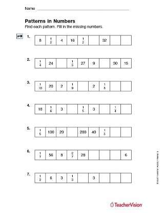 Patterns in Numbers - Identifying Fractions