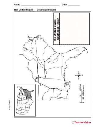 Map of Southeast United States - Geography Printable (1st ...