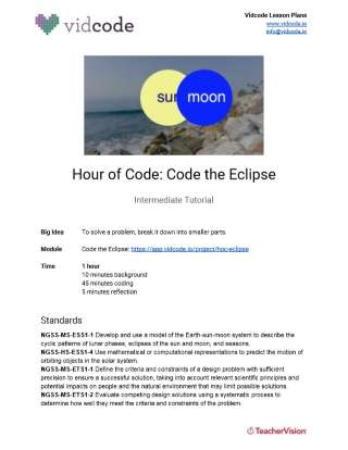 Code the Eclipse Hour of Code Lesson Plan from Vidcode