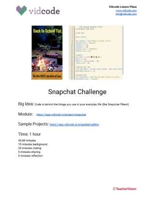 Code a Snapchat Filter Lesson Plan from Vidcode