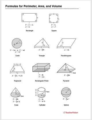 Formulas for Perimeter, Area, and Volume