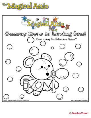 Magical Attic Sunray Bear Bubble Count Coloring Page