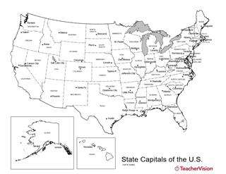 U S Map With State Capitals Geography Worksheet Teachervision