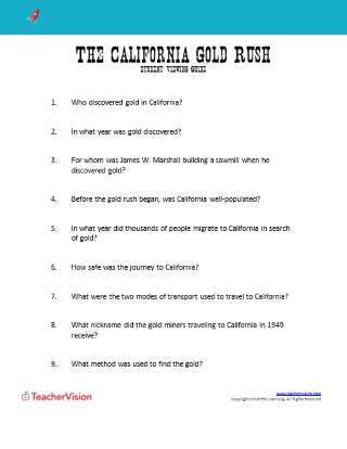 The California Gold Rush Student Viewing Guide