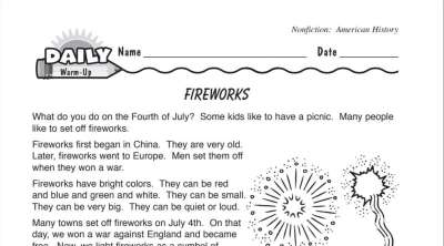 History of Fireworks Reading Warm-Up