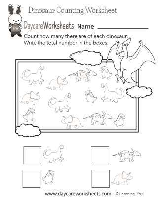 Early Learning Dinosaur Counting Activity