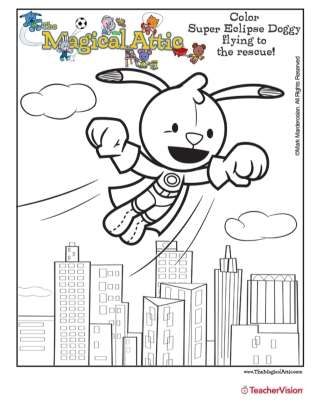 Magical Attic Eclipse Doggy Superhero Coloring Page