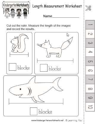 Early Learning Measuring Length Practice Worksheet