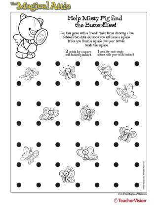 Magical Attic Misty Pig Butterflies Connect the Dots Game